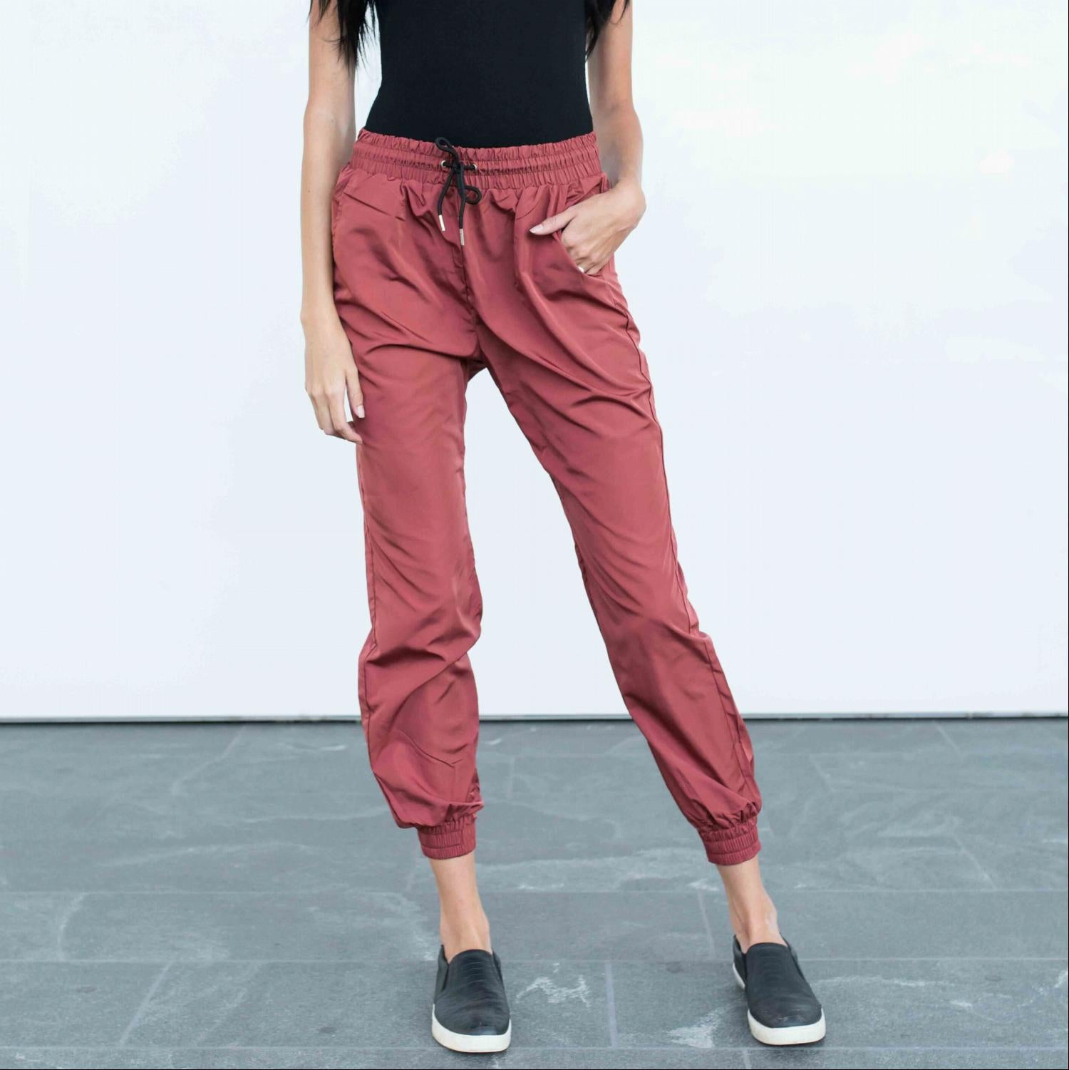 Burgundy Banded Drawstring Active Jogger Pants