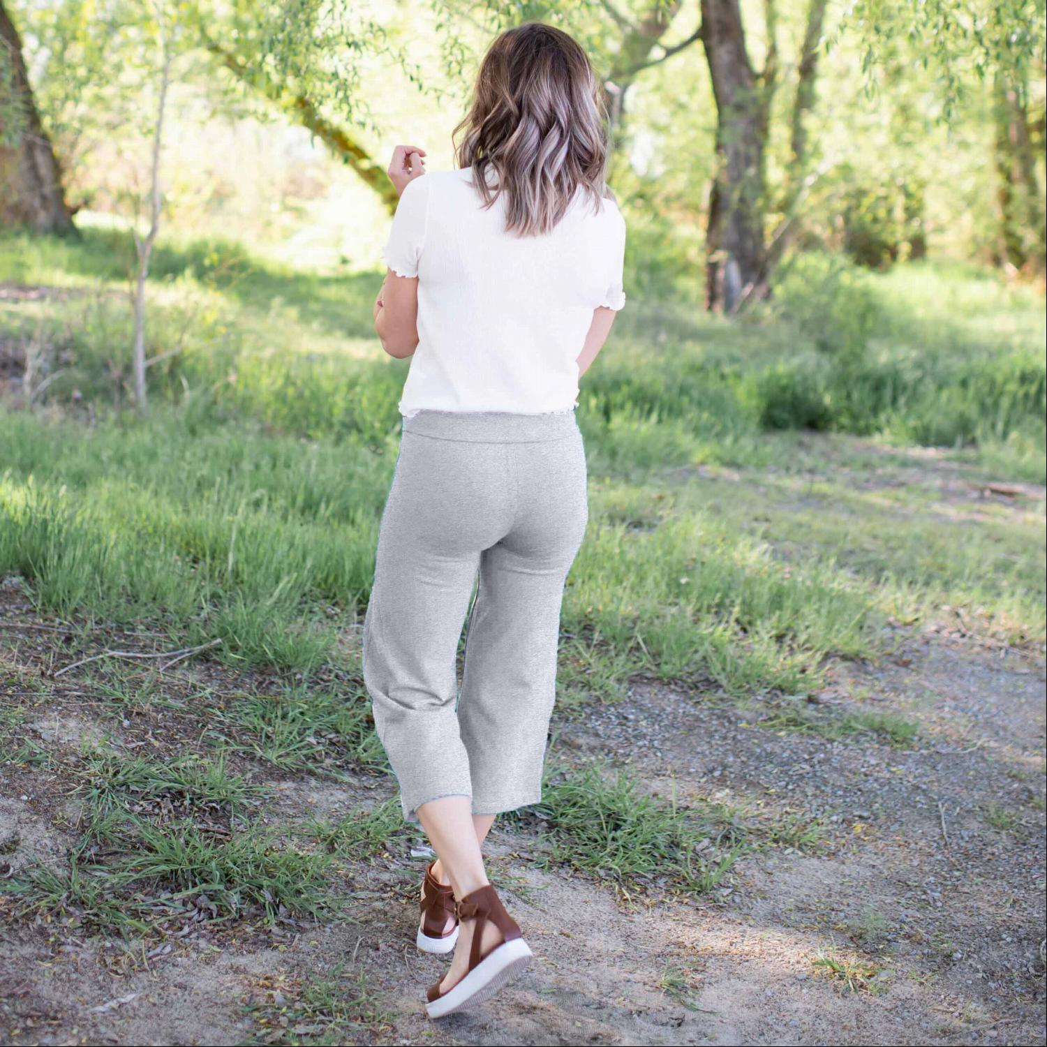 Grey Fold Over Yoga Capri Pants
