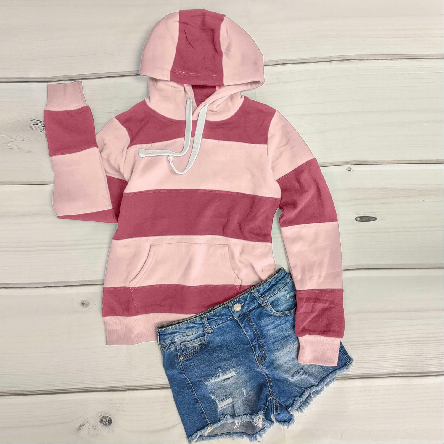 Begonia Pink Color Block Soft Fleece Pullover Hoodie