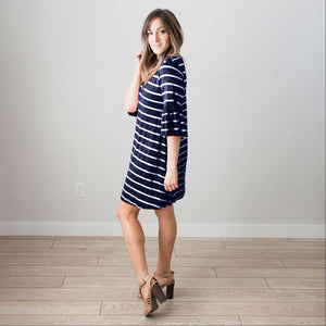 Navy Women's Ruffled Sleeve Short Midi Dress Striped Casual Pocket Fashion S-L USA