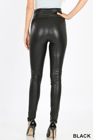Black HIGH-WAIST TUMMY CONTROL FAUX LEATHER LEGGINGS