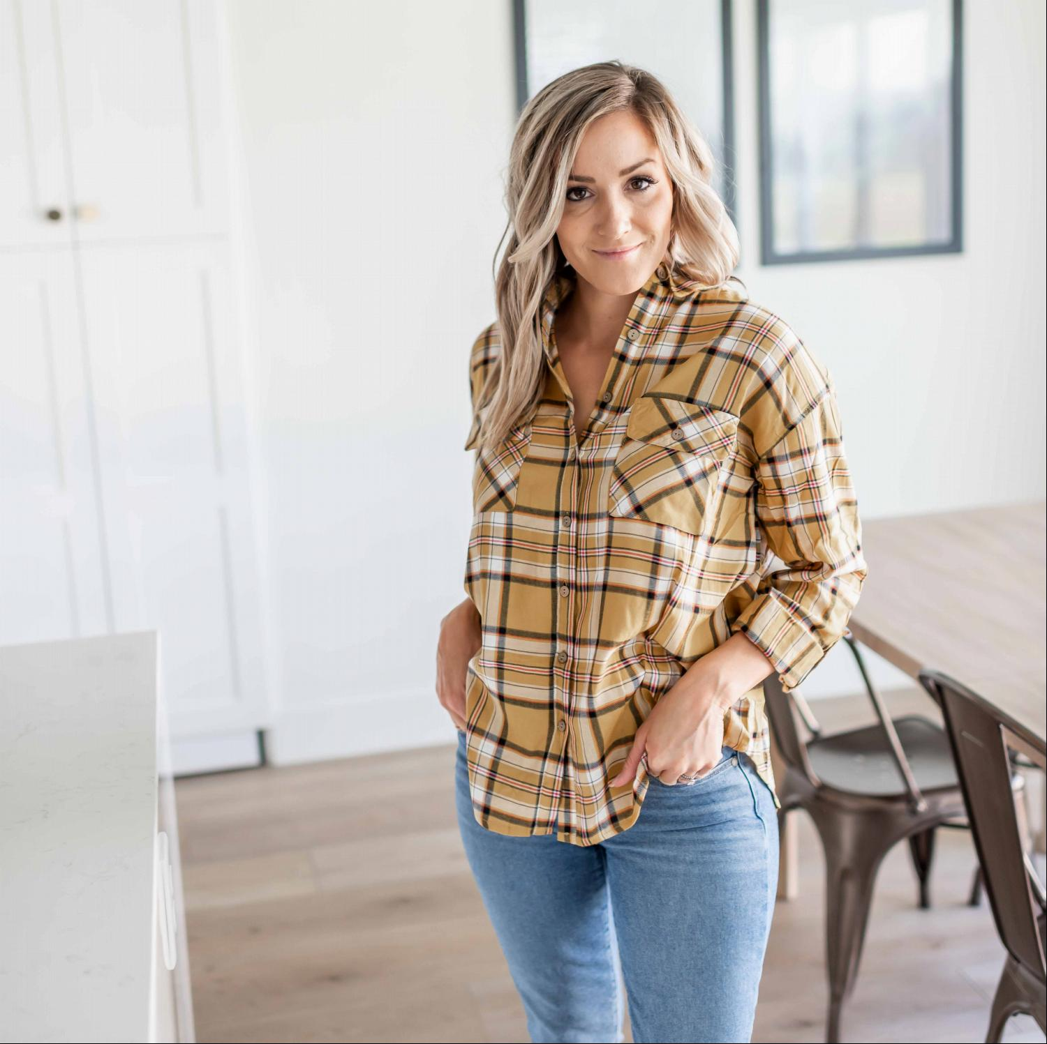 Dark Mustard Double Flap Pocket Button-up Plaid Shirt With Roll-up Long Sleeves