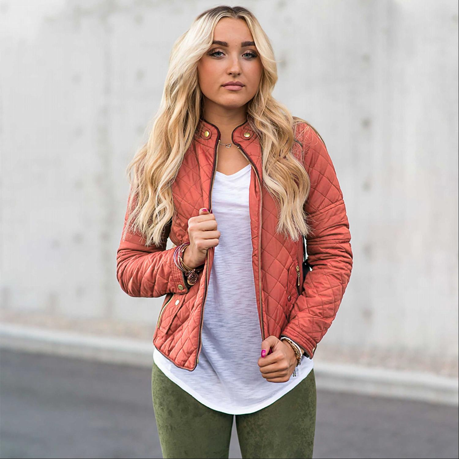 Pink Women's Padded Jacket Lightweight Quilted Coat Outwear Winter Packable Bomber