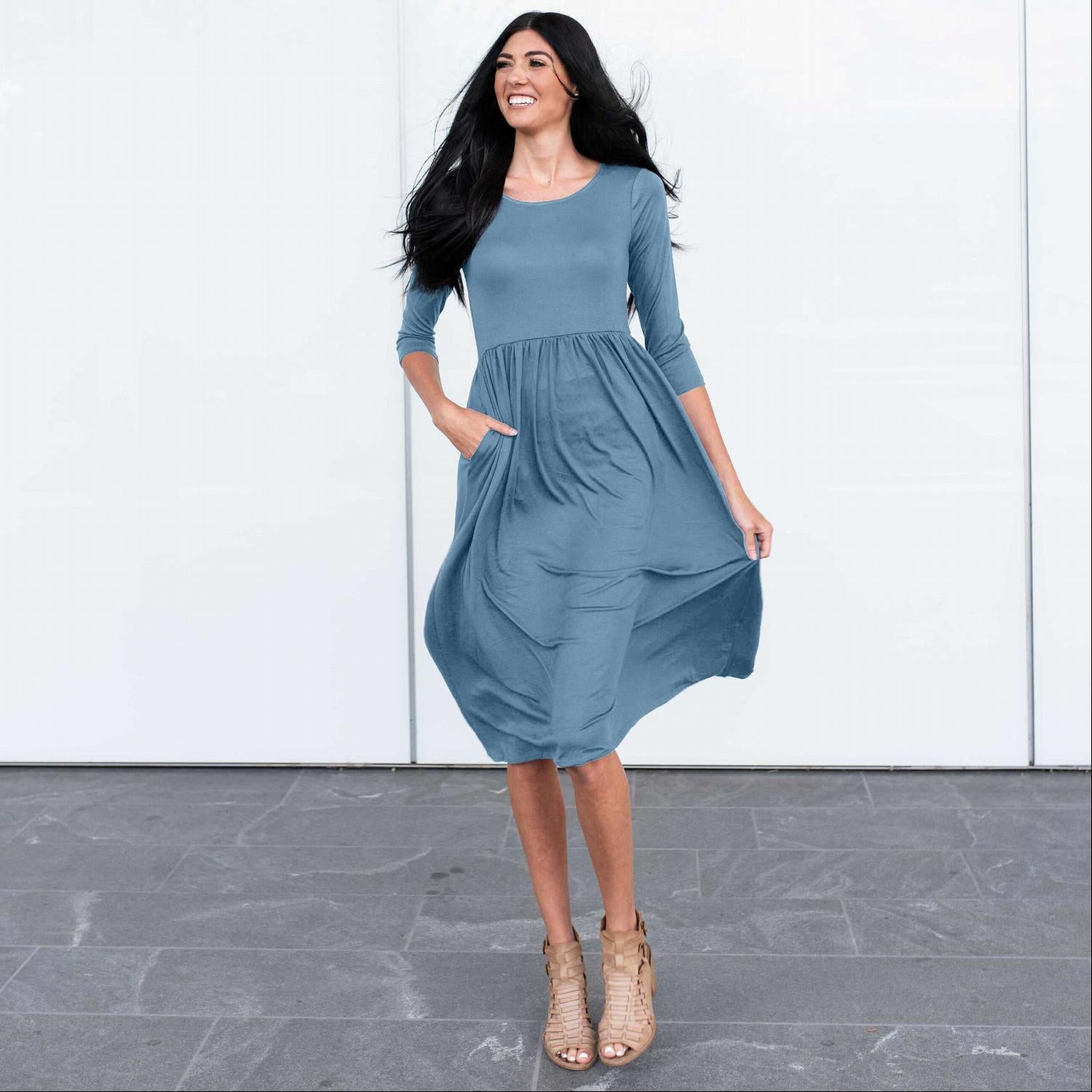French Blue Three Quarter Length Baby Doll Midi Dress