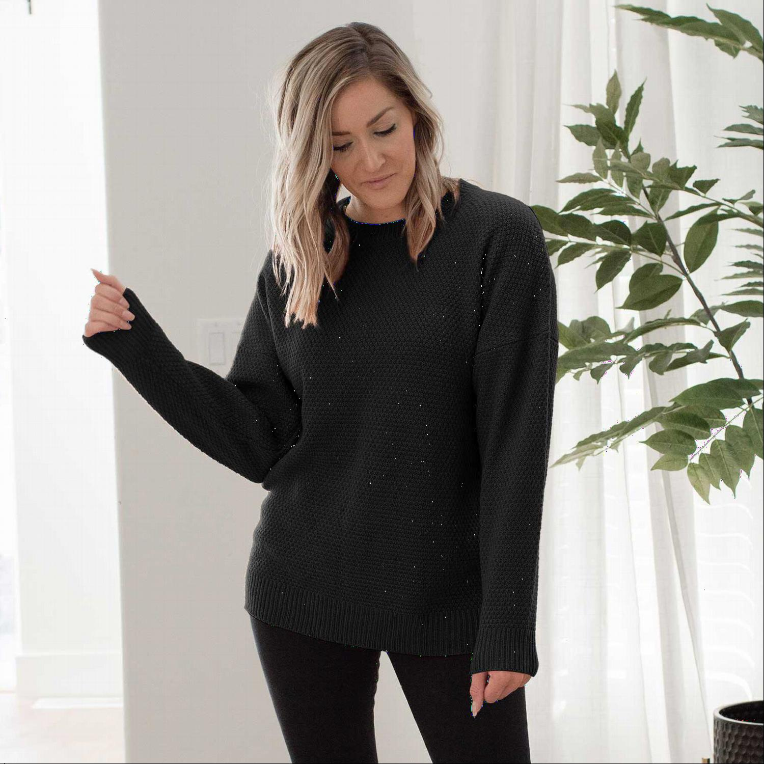 Black Round Neck Basic Sweater