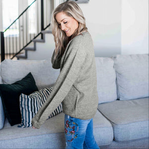 Mid Grey Balloon Sleeve Melange Sweater