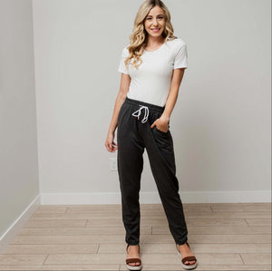 Charcoal Drawstring Work Pants with Pockets