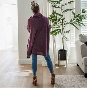 Dark Plum Brushed Melange Cowl Neck Oversized Hi-low Sweater
