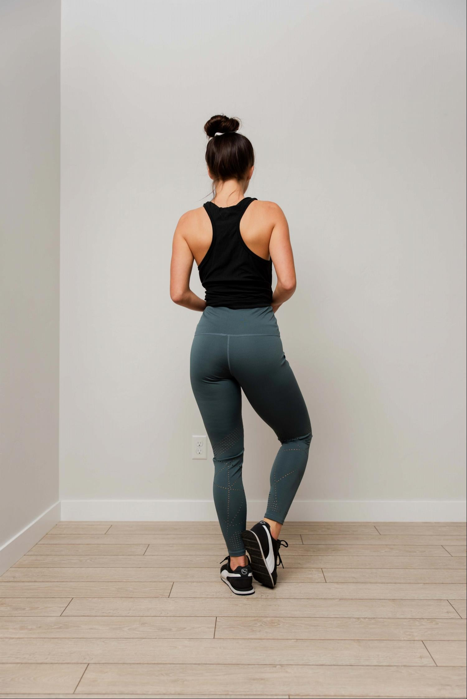 Teal Laser cut fashion yoga legging