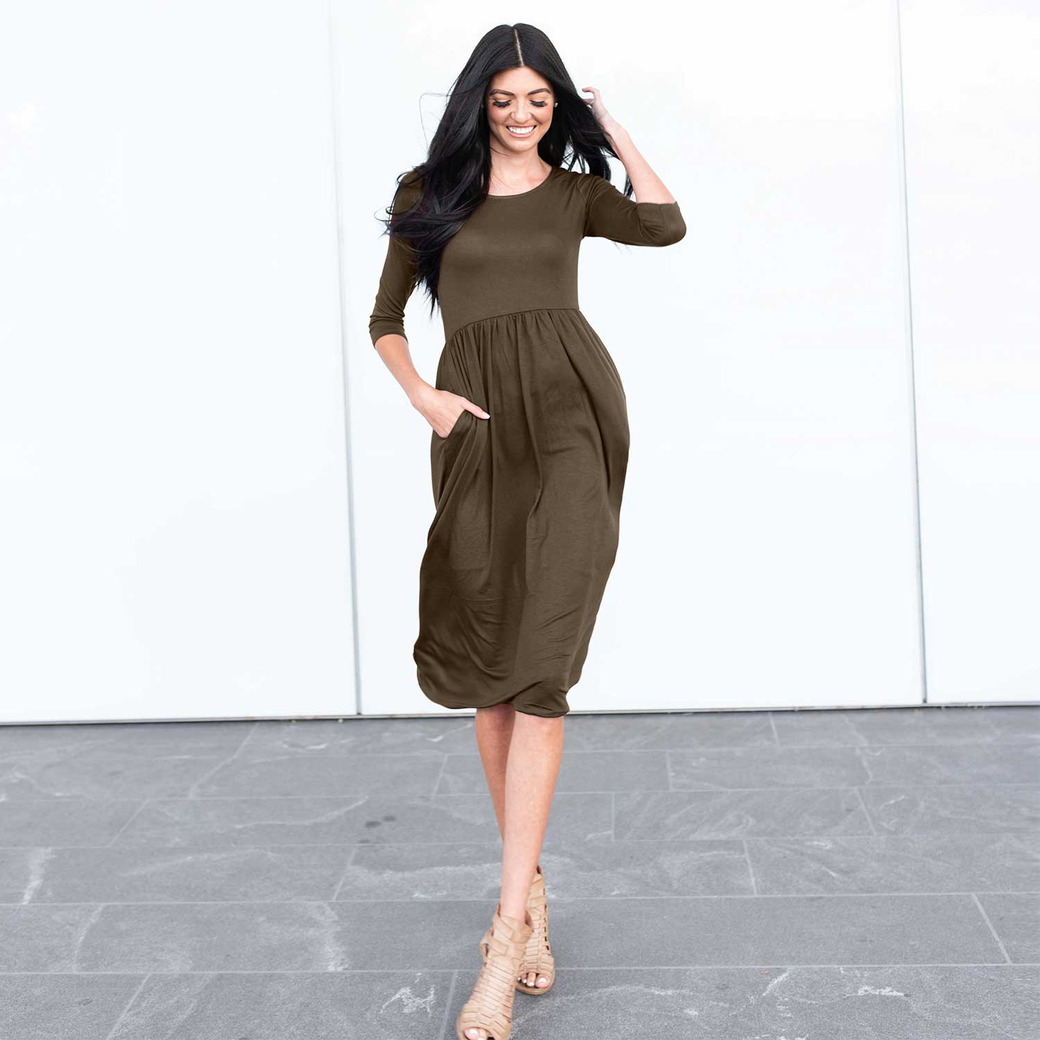 Olive Three Quarter Length Baby Doll Midi Dress