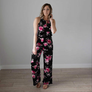 Black Floral Print High Square Jumpsuit