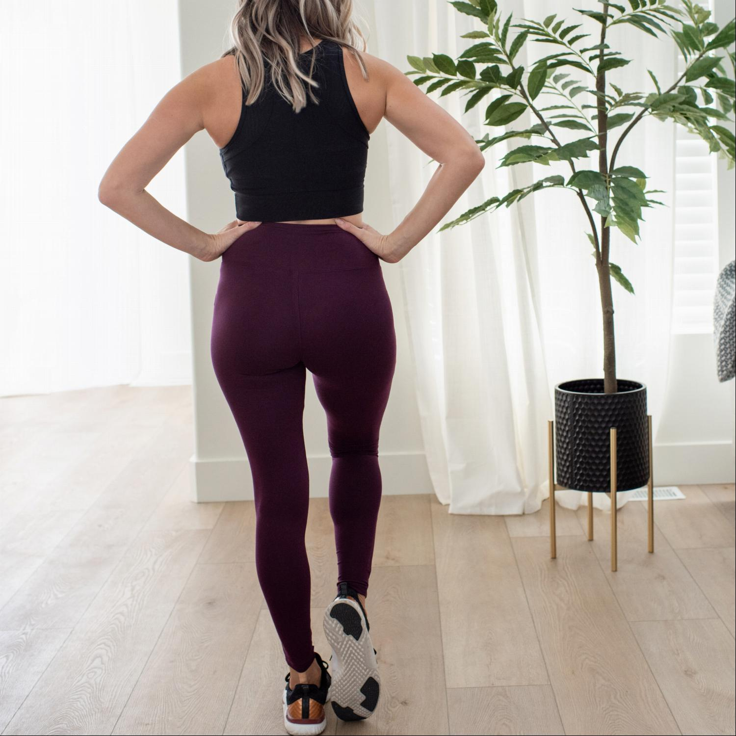 Dark Plum Premium Microfiber Wide Waistband Leggings