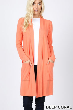 Deep Coral Women's Long Cardigan Slouchy Pocket Long Sleeves Open Front Solid Winter USA
