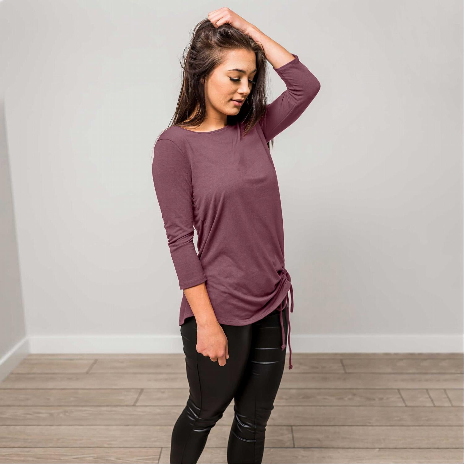Purple SLEEVE ROUND NECK SIDE RUCHED TOP