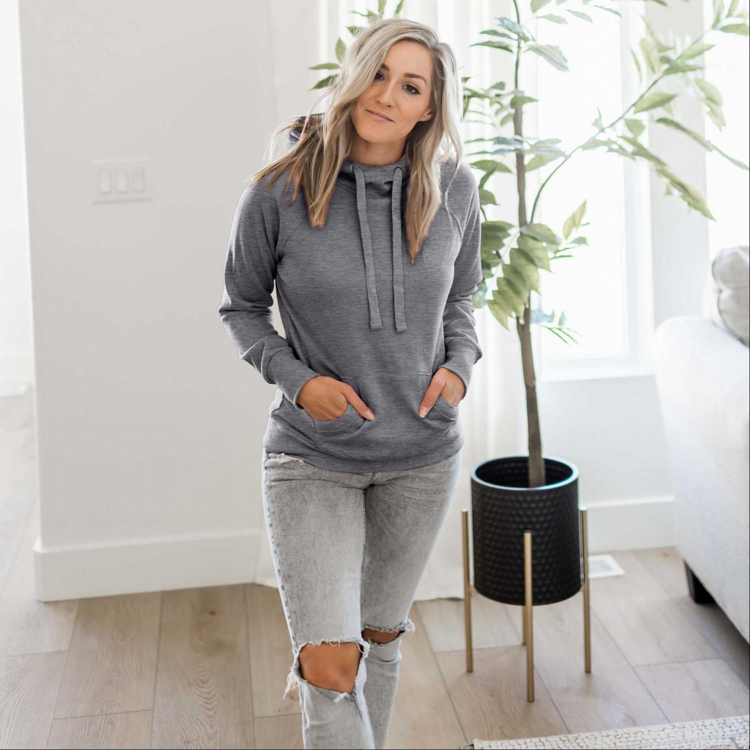 Heather Grey Women's Sweatshirt Roomy Brushed Hoodie Adjustable Drawstrings Solid Winter USA