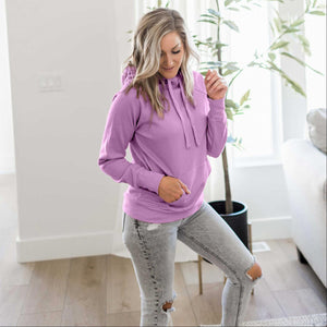 Orchid Women's Sweatshirt Roomy Brushed Hoodie Adjustable Drawstrings Solid Winter USA