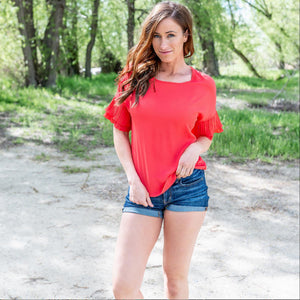 Red Solid 3/4th Flutter Sleeve Top