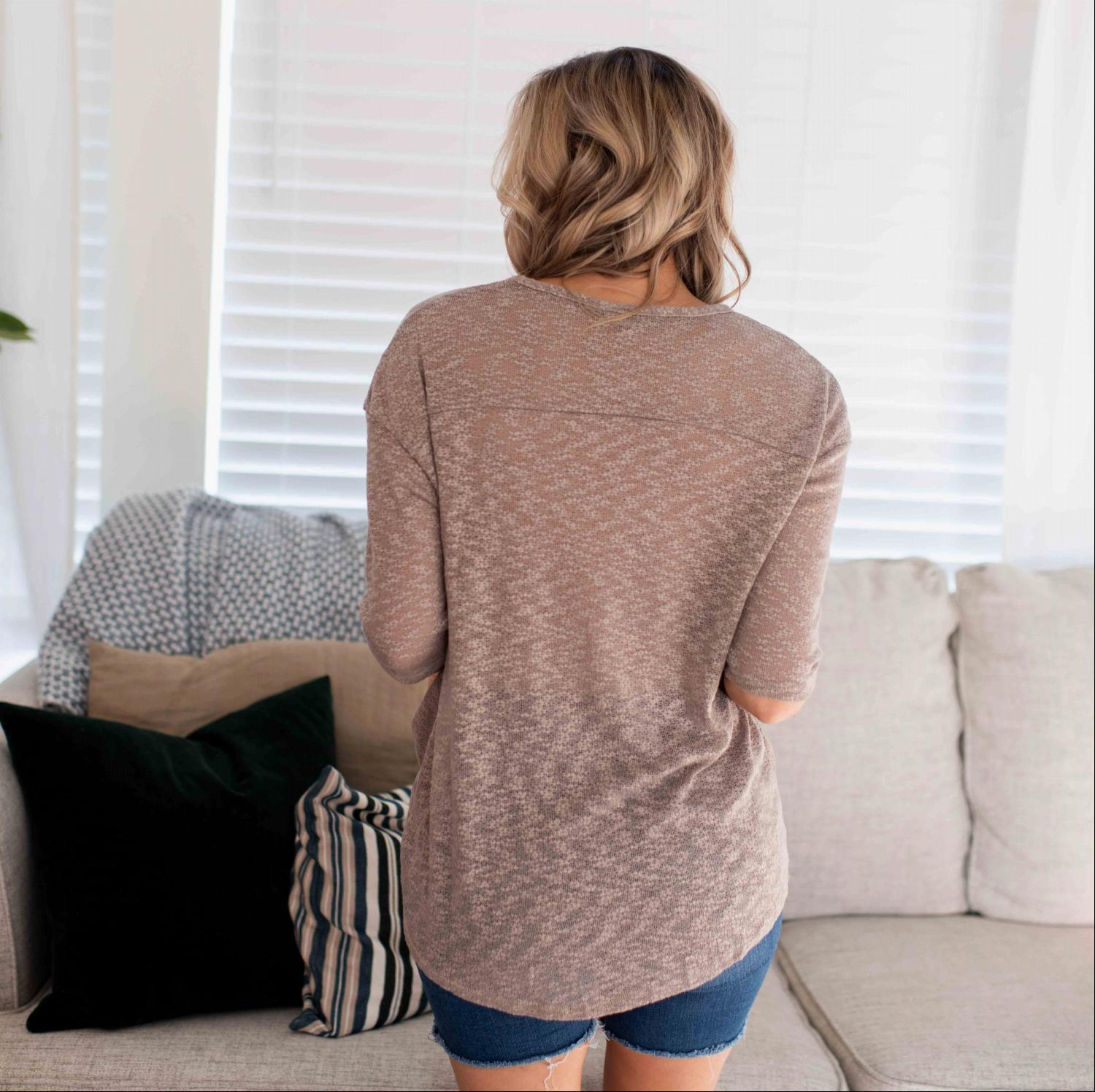 Taupe 3 Quarter Sleeve Front Gathered V Neck Top