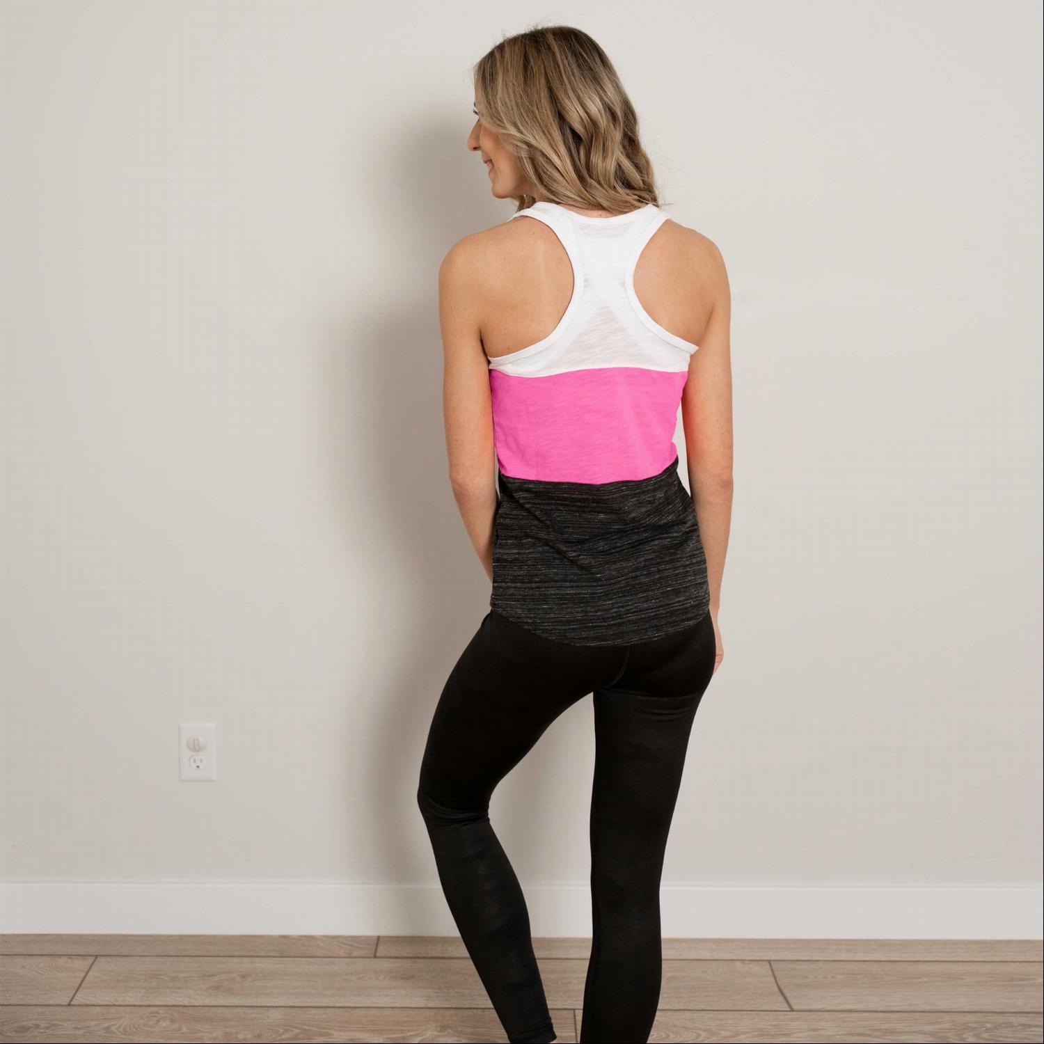 Pink Contrast Color Block Soft Workout Tank