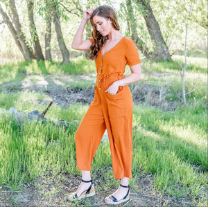 Rust Vee Neck Button Down Jumpsuit