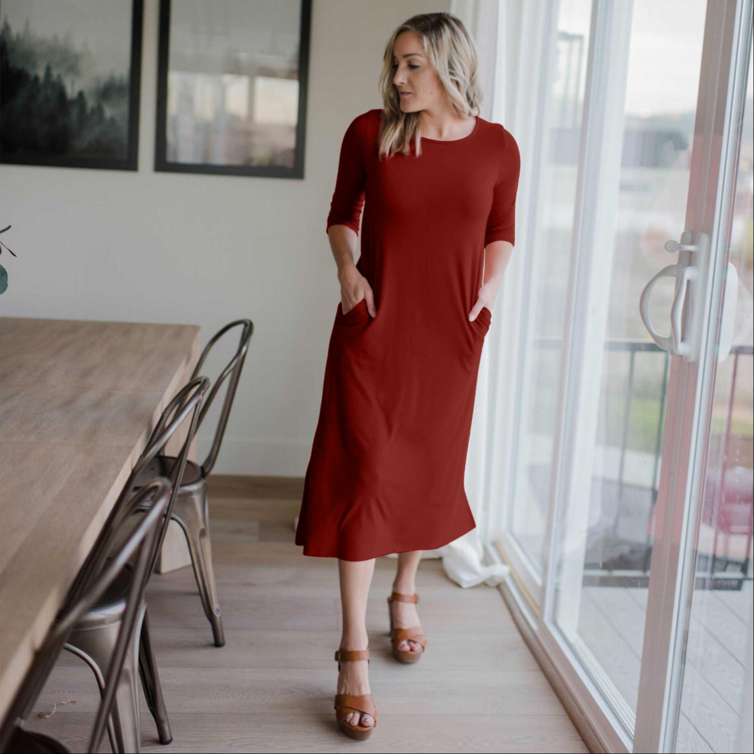 Fired Brick Mid Length Boxy Dress With Side Pockets