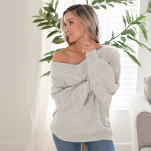 Light Grey Women's Off Shoulder Sweater Relaxed Fit Ribbed Wrist Cuffs Heathered Winter USA