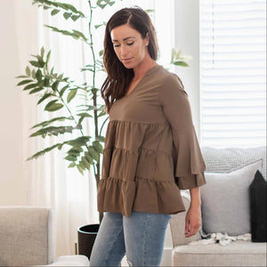 Mocha Women's Flared Top Blouse Flowy Flounce Sleeves V-Neck Relaxed Fit Spring USA
