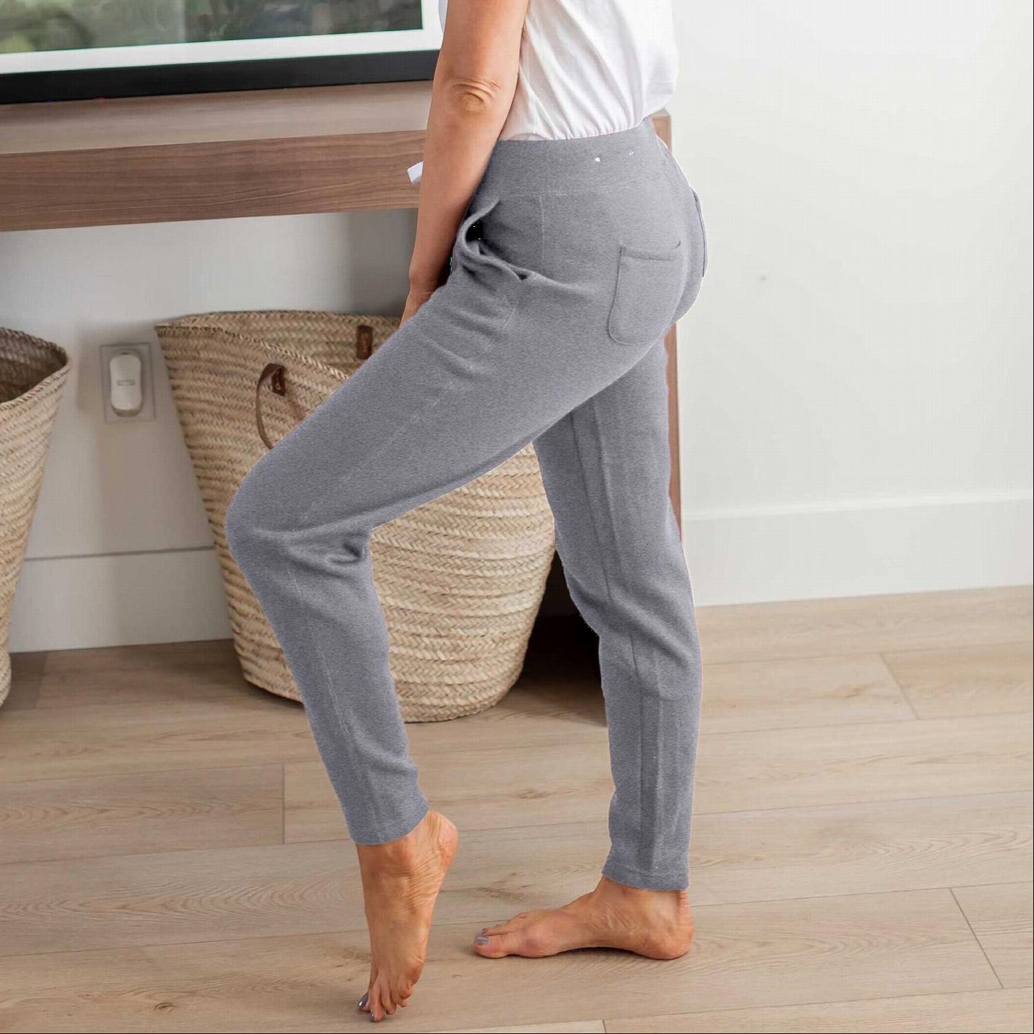 Heather Grey Apared Bottom Fleece Pants With Pockets