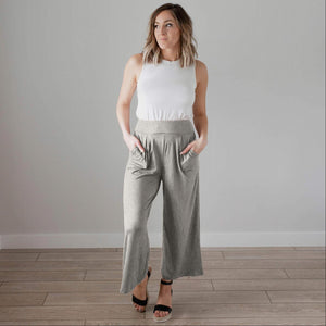 Grey Soft Brushed Wide Legged Palazzo Pants