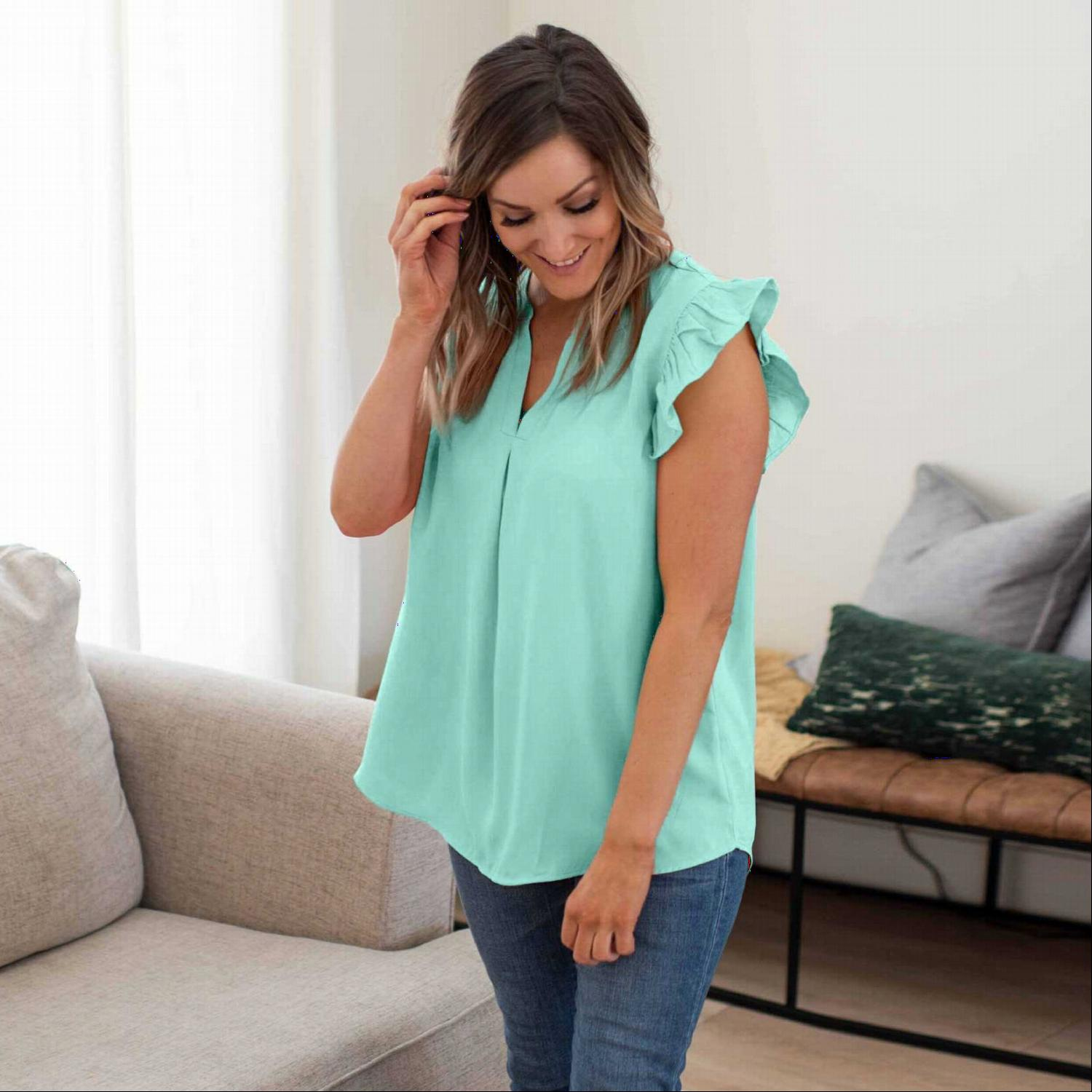 Mint Woven Wool Peach Ruffled Sleeve High-low Top