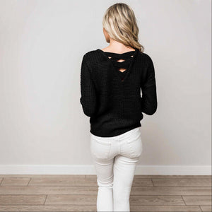 Black Solid Lace Up Back Knit Sweater Top