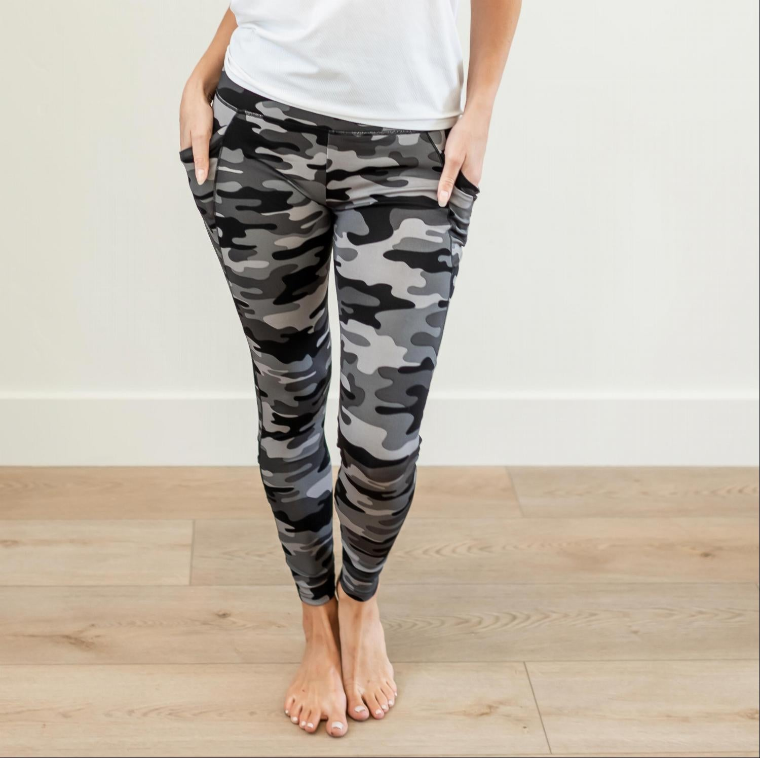Grey Camo Womens Animal Print Mesh Cross Strap Leggings Yoga