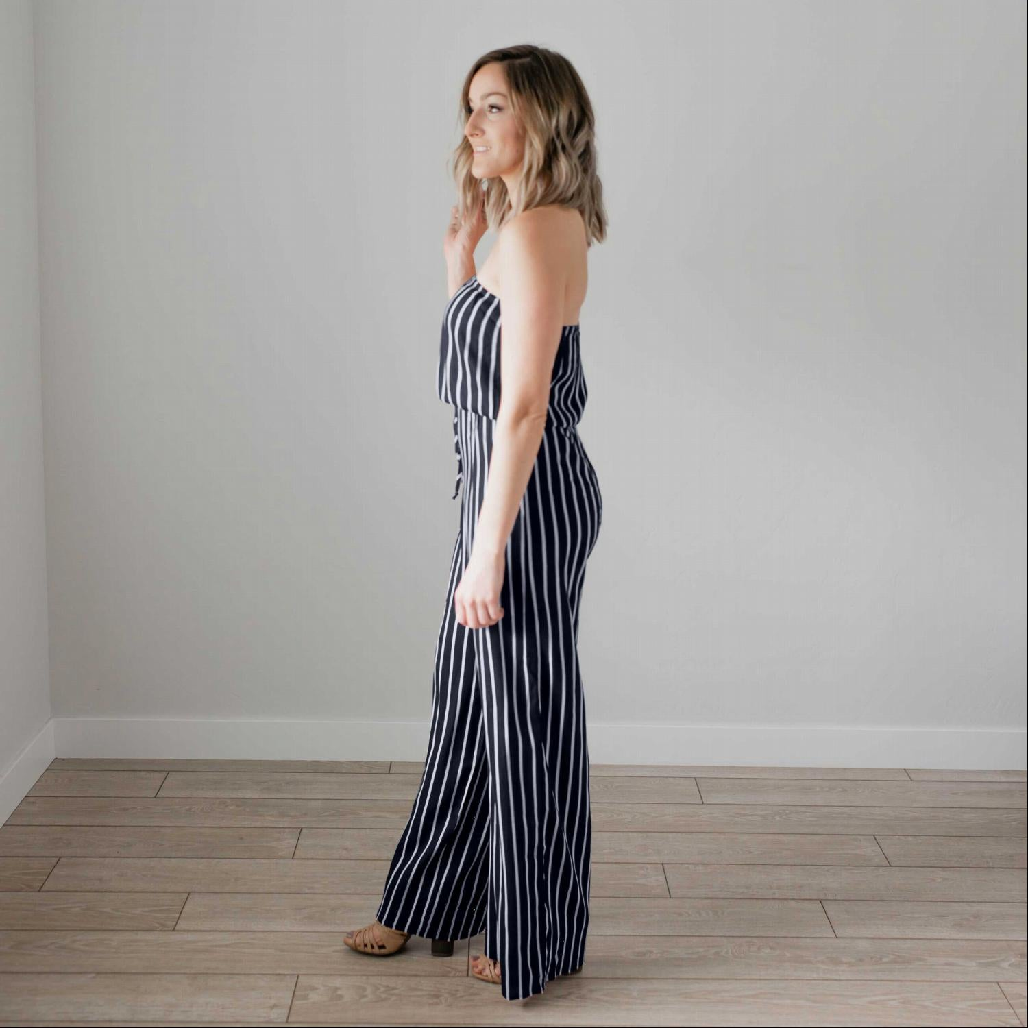 Navy Striped Print Tubed Jumpsuit