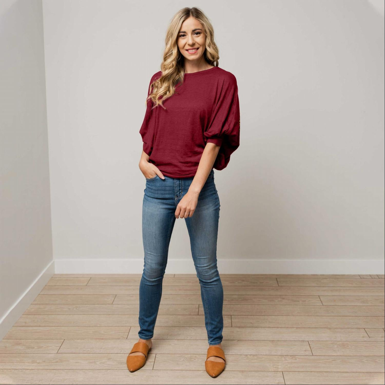Burgundy Womens Dolman Long Sleeve Solid Round Neck Loose Fit Tunic Top Comfy Casual USA