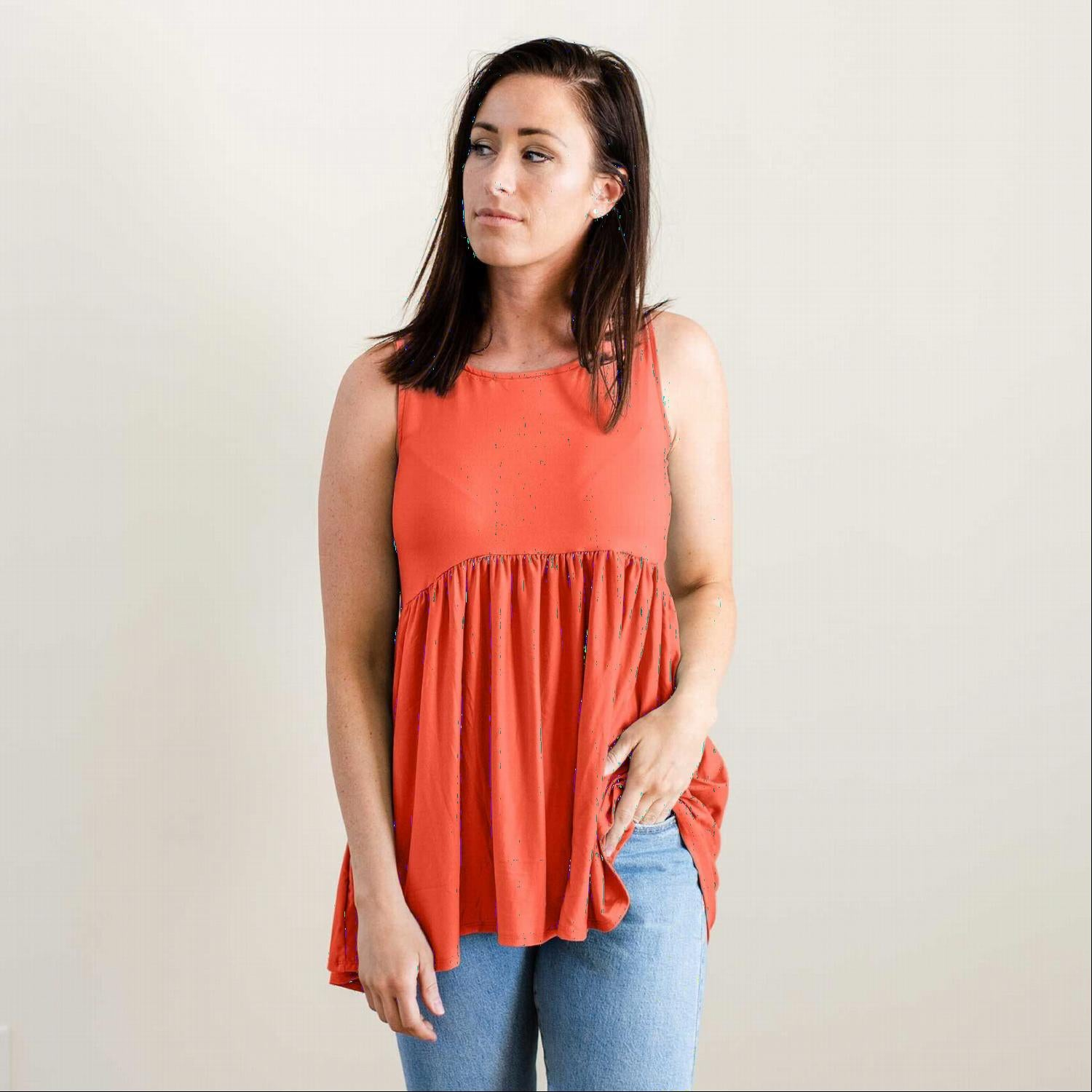Ash Copper BRUSHED DTY SLEEVELESS EMPIRE WAIST SHIRRING TOP