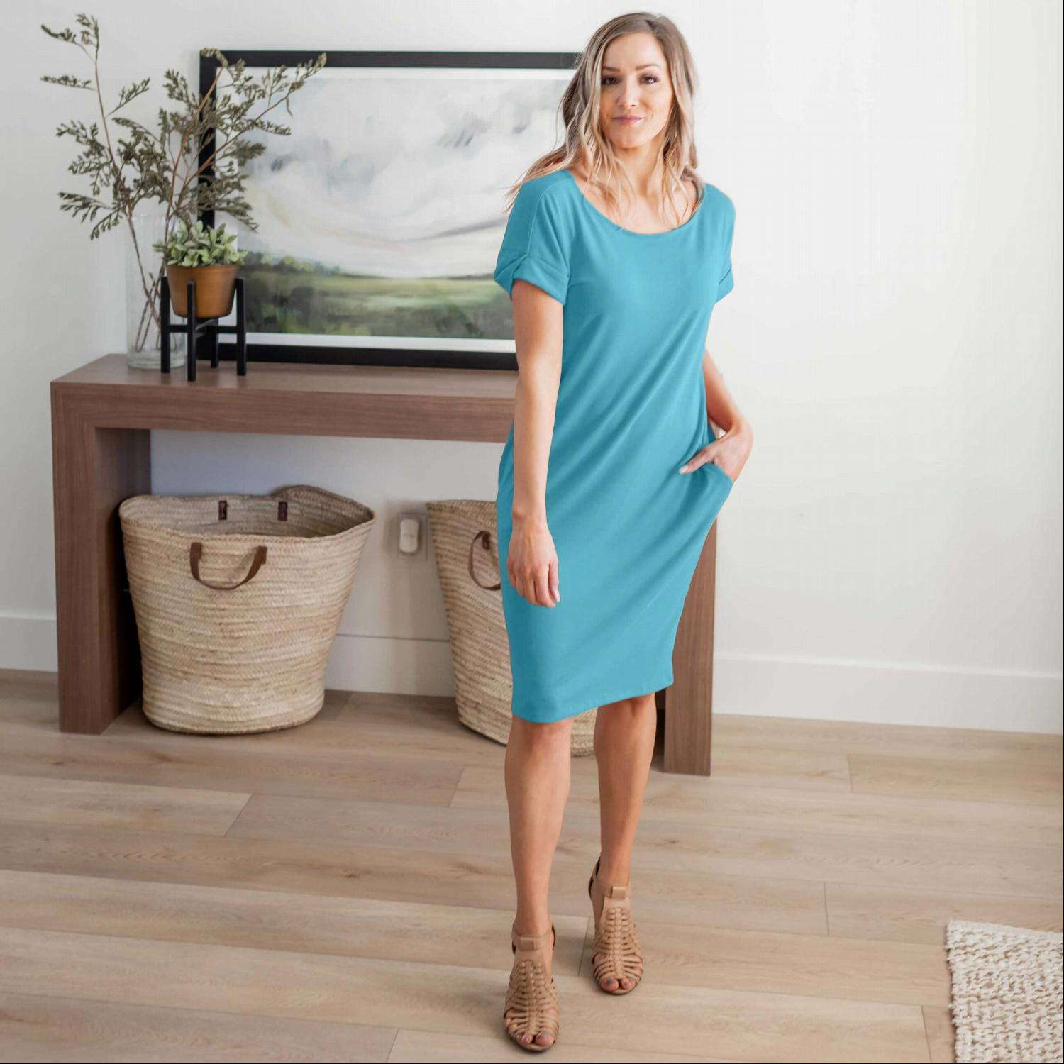Dusty Teal Rolled Short Sleeve Round Neck Dress
