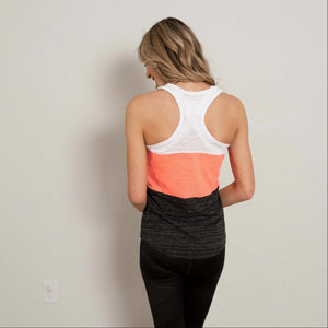 Coral Contrast Color Block Soft Workout Tank