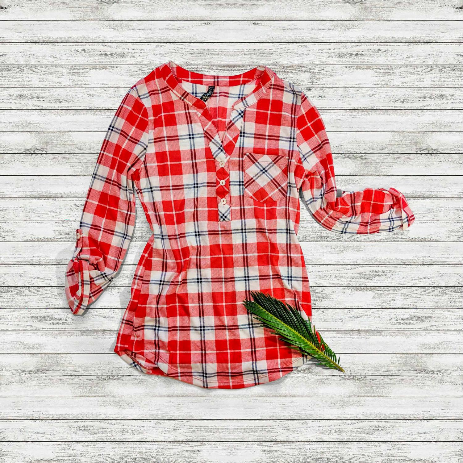 Red Womens Plaid Check Button V-Neck 3/4 Sleeve Henley Top Tee Shirt Office USA