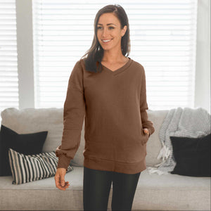 Mocha Women's Sweatshirts Pullover Long Sleeve V-Neck Side Pockets Solid Spring USA
