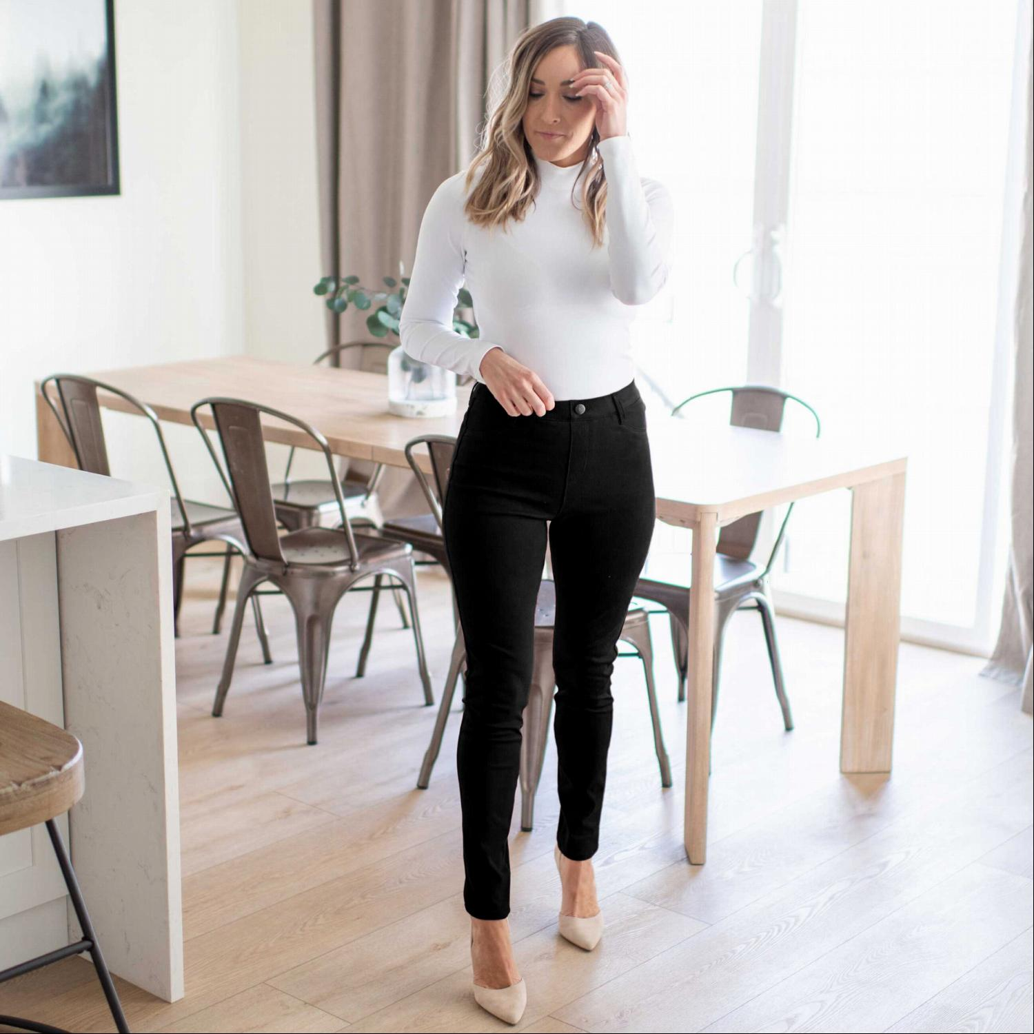 Black Knit Twill Jeggings