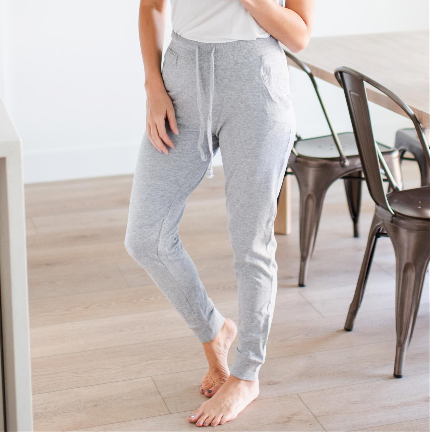 Heather Grey French terry knit, relaxed fit casual Jogger Sweatpants