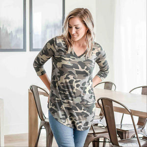 Dusty Camo Camouflage Print V-neck Round Hem Top