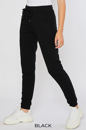 Black Women's Sweatpants Fleece Jogger Basic Tapered Leg High Rise Solid Winter USA