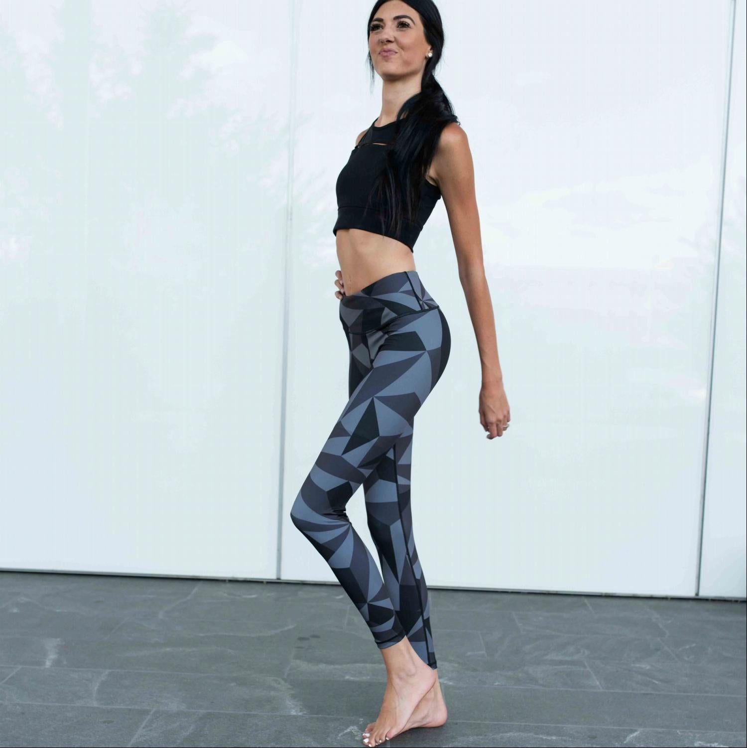 Charcoal Active High Rise  Print Workout Legging