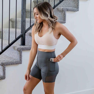 Heather Grey Mesh Contrast Soft High Waist Bike Short