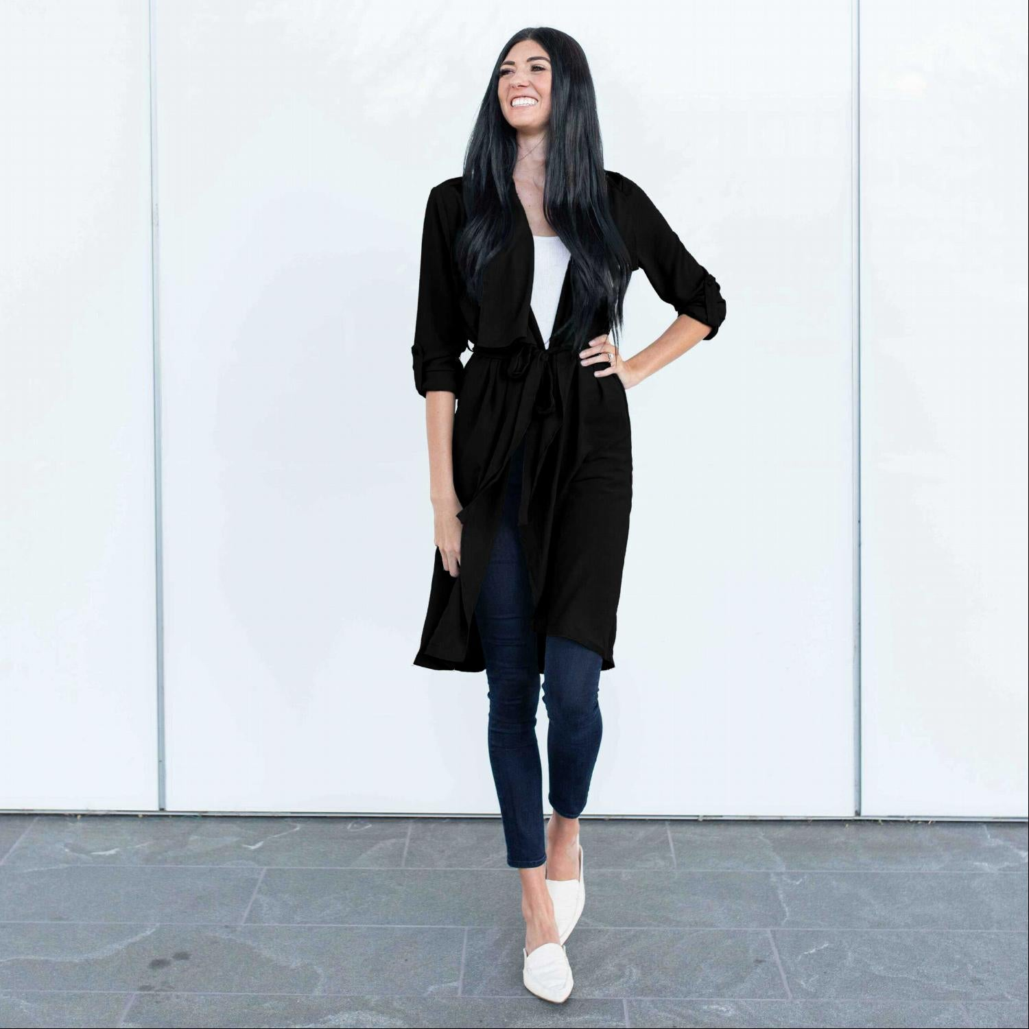 Black Oversized Hooded Long Line Trench Jacket