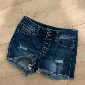 Dark Women's Shorts Denim Jeans Distressed Hot Skinny Ripped Button Fly Stretchy