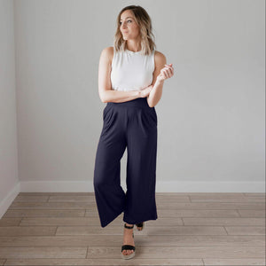 Navy Soft Brushed Wide Legged Palazzo Pants