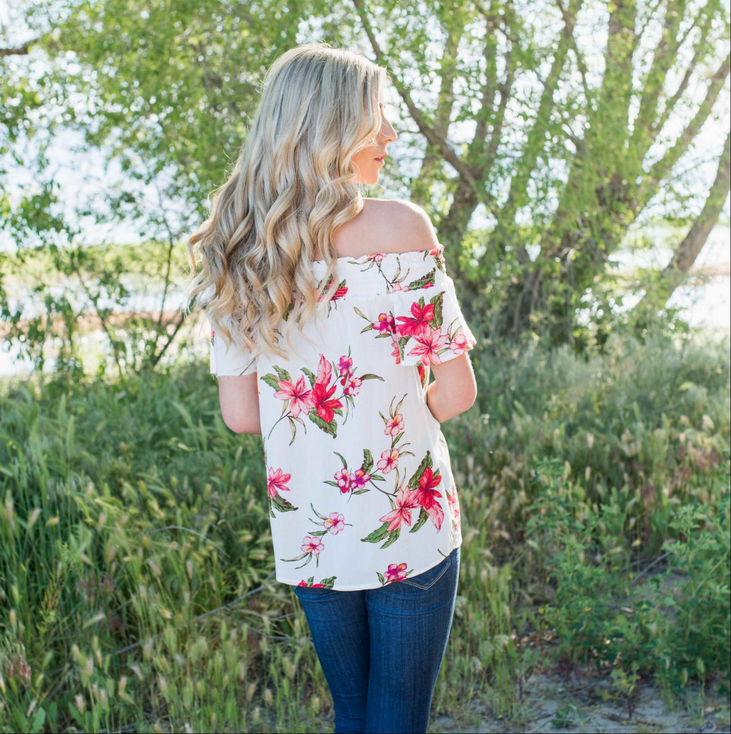 Ivory Smocked Floral Print Off Shoulder Top