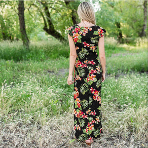 Black Vee Neck Layer Flow Dress